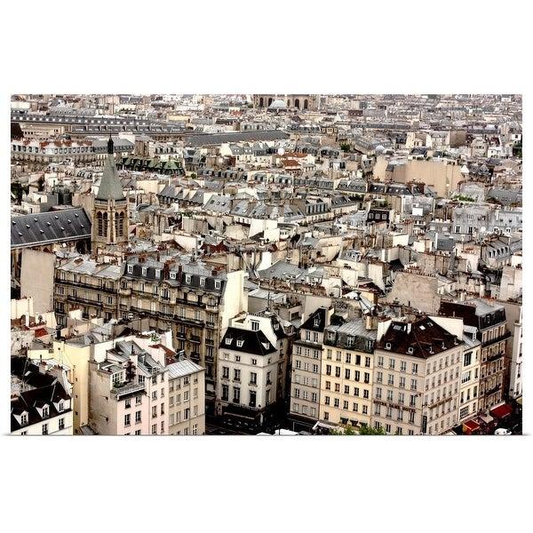 """Aerial view of Paris, neighborhood of Notre Dame de Paris."" Poster Print"
