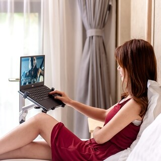 Heavy Duty Aluminum Alloy Adjustable Height Floor Stand for iPhone, iPad or Laptop with Rotatable Arm.
