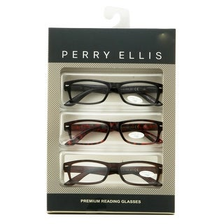 Perry Ellis Mens 3 Multi Pack Plastic Reading Glasses +2.5 Black/Demi/Brown PEBX26, Includes Perry Ellis Pouch - Brown