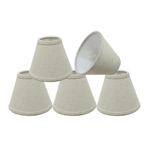 "Aspen Creative Hardback Empire Chandelier Clip-On Lamp Shade (5 Pack), Oatmeal, (3"" x 6"" x 5"")"