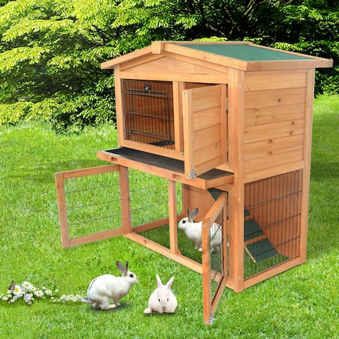 """40"""" Triangle Roof Waterproof Wooden Rabbit Hutch A-Frame Pet Cage Wood Small House Chicken Coop"""