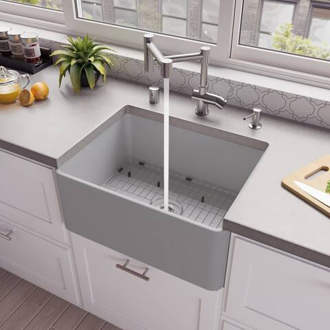 "Gray Matte Smooth Apron 24"" x 18"" Single Bowl Fireclay Farm Sink"