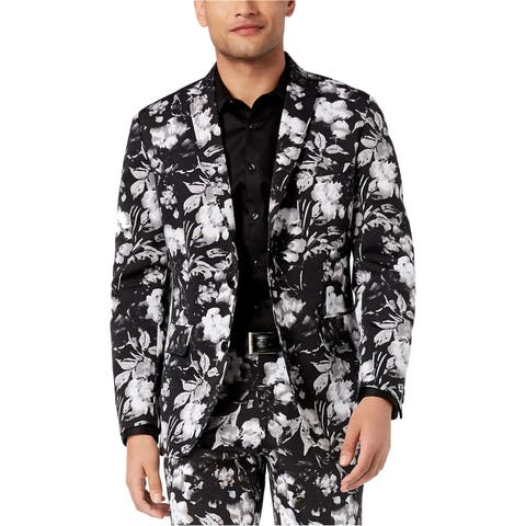 I-N-C Mens Floral Two Button Blazer Jacket