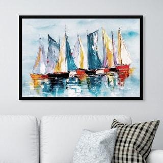 Oliver Gal 'Beautiful Boat Day' Nautical and Coastal Framed Wall Art Prints Nautical Watercrafts - Blue, Orange