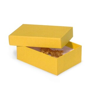 """Pack of 100, 3 x 2.25 x 1"""" Yellow Eco Tone Recycled Jewelry Boxes"""