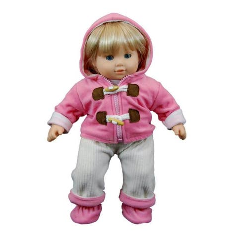 "15"" Doll Clothes for American Girl Bitty Baby & Twins, Pink & Cream Overalls, shirt ,jacket & Shoes"