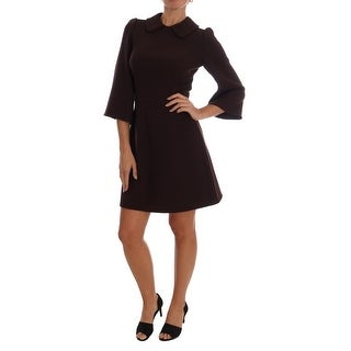 Dolce & Gabbana Bordeaux Stretch A-Line Shift Dress - it40-s