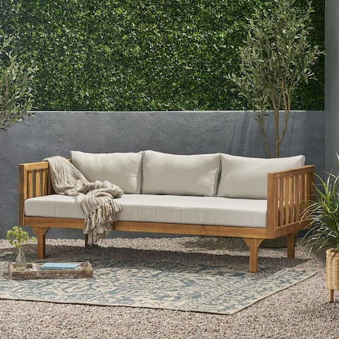 Claremont Outdoor 3-seat Acacia Daybed by Christopher Knight Home