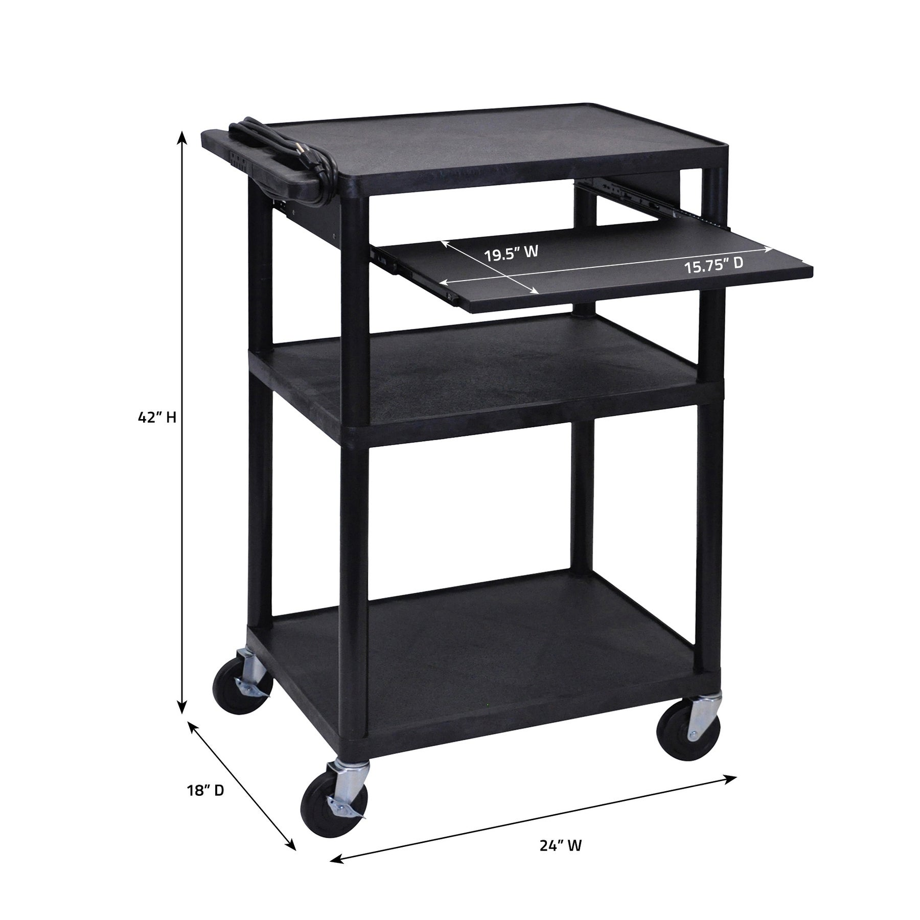 Offex Of Lp42le B Endura Black 3 Shelves Heavy Duty Av Utility Cart With Pull Out Shelf Overstock 7607521
