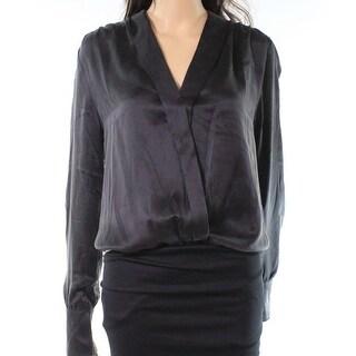Lamarque NEW Black Womens Size Large L Silk V-Neck Bodysuit Blouse