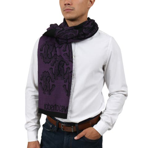 Roberto Cavalli ESZ028 03000 Purple Wool Blend Logo Mens Scarf - 30