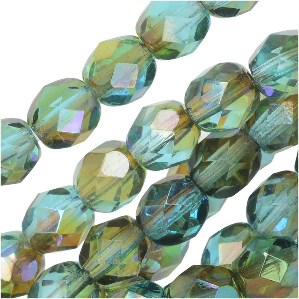 Czech Glass Fire Polished  Beads 6mm X 50 6