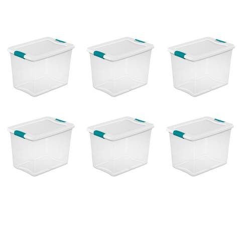 STERILITE 25 Quart Latching Boxes, Clear - Case of 6