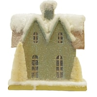 "9.25"" Snow Covered House with White Trees Christmas Tabletop Decoration"