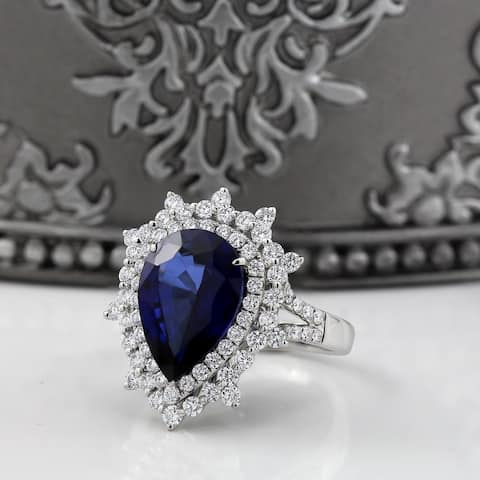 Auriya 18k Gold 6 1/4ct Pear-cut Sapphire Halo Diamond Engagement Ring 1 1/4ct TDW