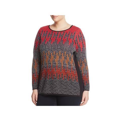 Nic + Zoe Womens Plus Sunset Tunic Top Knit Printed