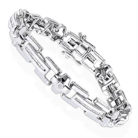 Luxurman Mens Bracelets Collection Piece Round & Baguette Diamond Bracelet 1.95ctw 14k Gold