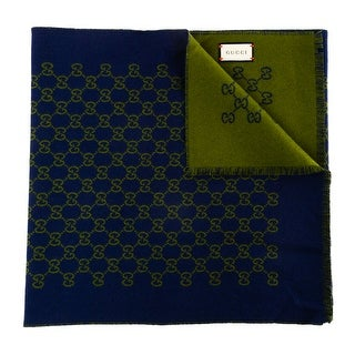 Gucci Unisex Wool GG Jacquard Scarf Navy Blue Green - small