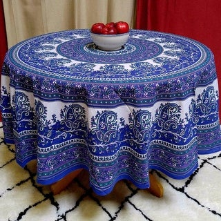 Cotton Mandala Paisley Floral Tablecloth Round Blue Purple   72 Inches