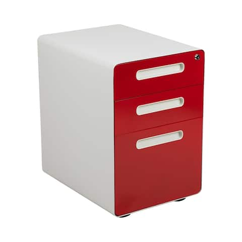 Offex Filing Cabinet with Letter / Legal Drawer - White/Red Faceplate