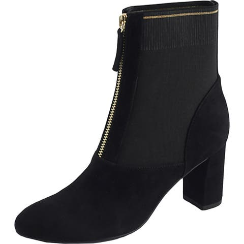 David Tate Womens Monique Ankle Boots Suede Block Heel