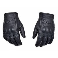 Perforated Cowhide Motorcycle Biker Riding Gloves Black G14