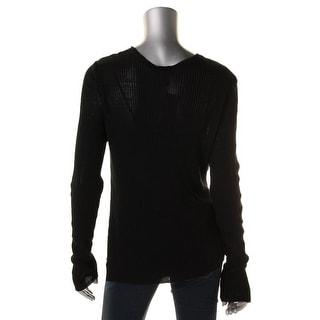Eileen Fisher Womens Drape Neck Long Sleeve Pullover Top