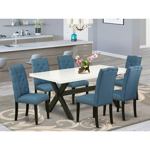 Modern Dining Table Set a Table and Linen Fabric Chairs and Button Tufted Chair Back (Pieces and Bench Option)