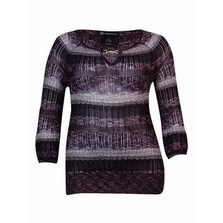 INC International Concepts Women's Striped Keyhole Knit Sweater (XL, Port) - XL