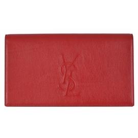 Saint Laurent YSL 361120 Red Leather Large Belle de Jour Clutch Handbag Bag