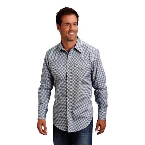 Stetson Western Shirt Mens L/S Print Snap Blue