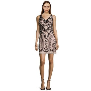 Aidan Mattox Sleeveless V-Neck Embellished Sheath Cocktail Dress