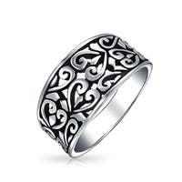 Bling Jewelry 925 Sterling Silver Filigree Swirl Heart Ring