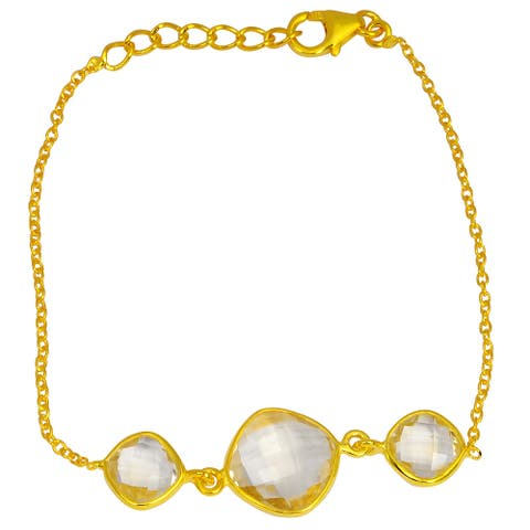 Citrine Sterling Silver Cushion Link Bracelet by Orchid Jewelry