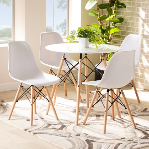 Jaspen Modern and Contemporary Plastic and Wood Dining Set (5pc)