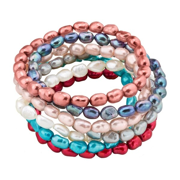 Honora Set of 7 Multi-Color Baroque Freshwater Pearl Stretch Bracelets