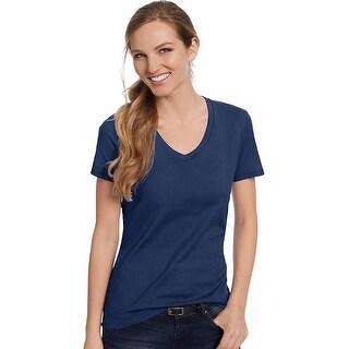 Hanes Women's Nano-T® V-Neck T-Shirt - Size - XL - Color - Vintage Navy