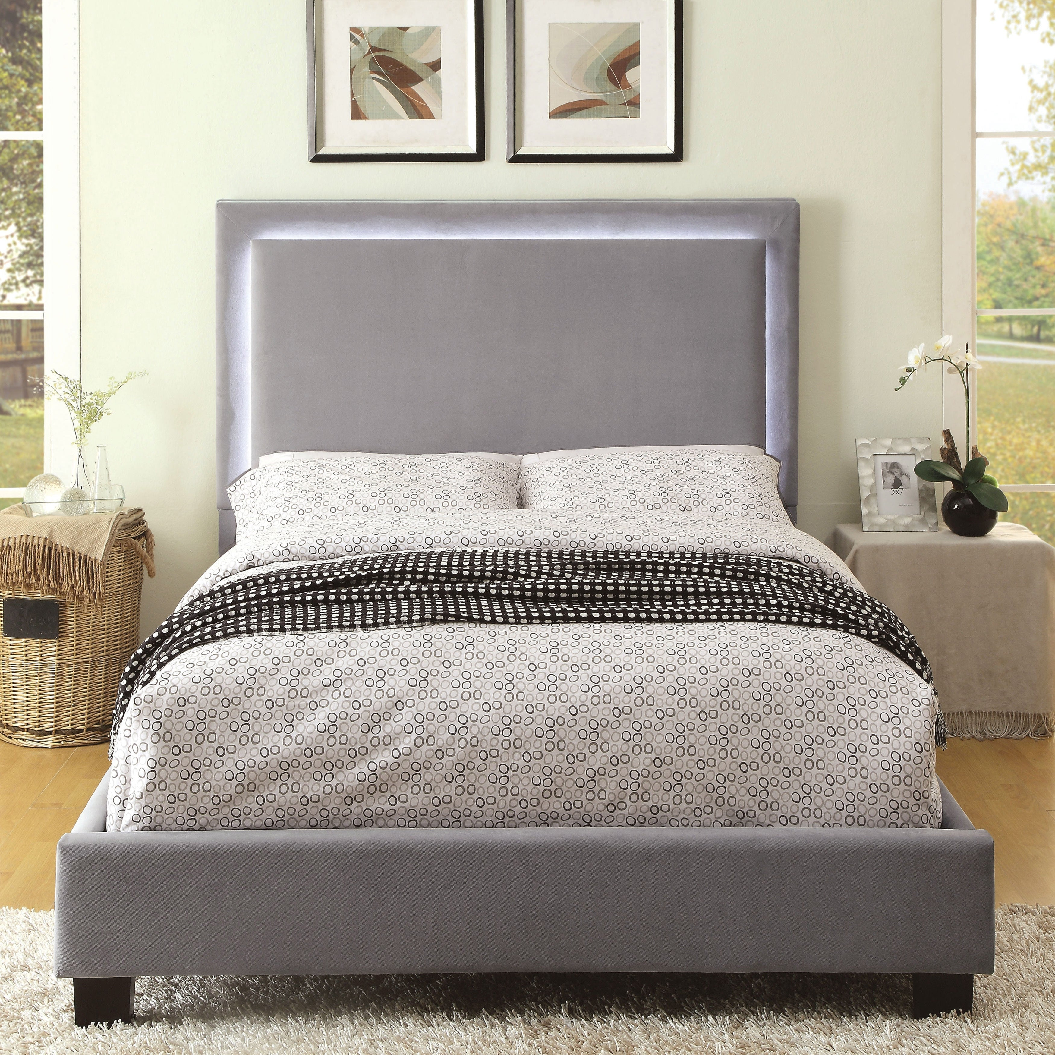 Silver Orchid Berger Led Light Grey Platform Bed Overstock 12496187 Queen