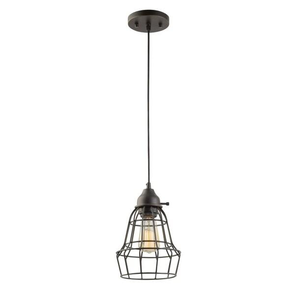 Globe Electric 64172 Elior 1-Light Mini Pendant - oil rubbed with cage