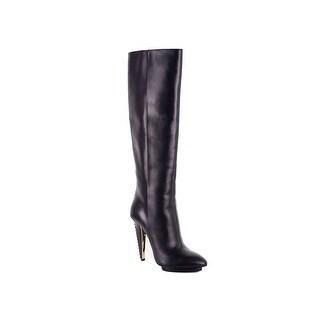 Roberto Cavalli Womens Black Women's Leather Knee High Boots