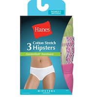 Hanes Women's Cotton Stretch Hipster Panties with ComfortSoft® Waistband 3-Pack - Size - 6 - Color - Assorted