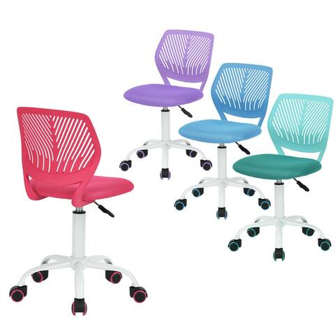Porch & Den Nazaneen Cut-out Plastic Backrest/ White Metal Base Task Chair