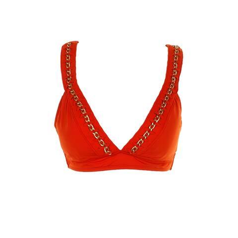 Kenneth Cole New York Orange Embellished Plunging Halter Bikini Top M