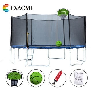 ExacMe S-series Outer Trampoline Safety Pad Enclosure Net Ladder Green Basketball Hoop Combo
