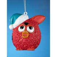 "3.5"" Red Furby Wearing a Blue Glittered Santa Hat Christmas Ornament"