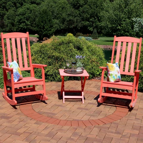 Sunnydaze All-Weather Rocking Chair Set of 2 with Side Table - Salmon
