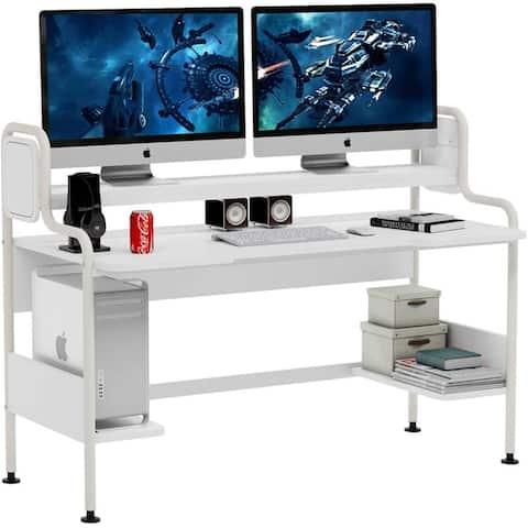 55 Inch Computer Desk with Hutch Large Gaming Desk with Shelves