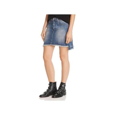 Zadig & Voltaire Womens Jelly Grunge Mini Skirt Denim Asymmetric - Bleu