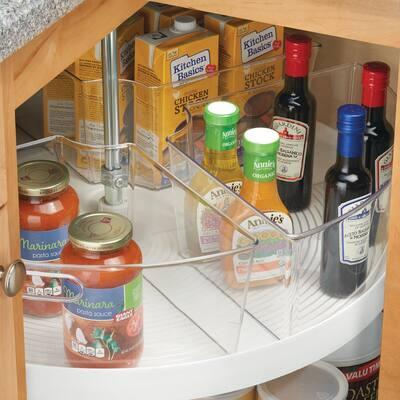 mDesign Lazy Susan Kitchen Food Storage Organizer Bin, 1/4 Wedge, 4 Pack - 10.8 X 17.5