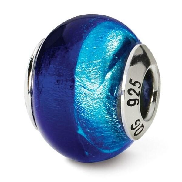 Italian Sterling Silver Reflections Dk. & Lt. Blue Bead (4mm Diameter Hole)